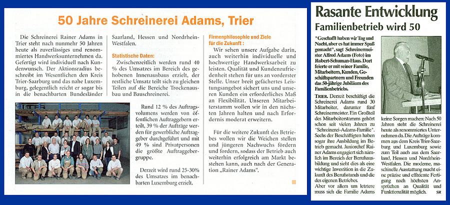 Presseartikel über das 50-jährige Bestehen von Schreinerei Adams in Trier